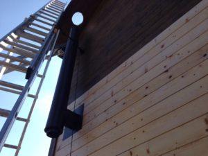 Установка газового котла, монтаж трех вентиляционных каналов